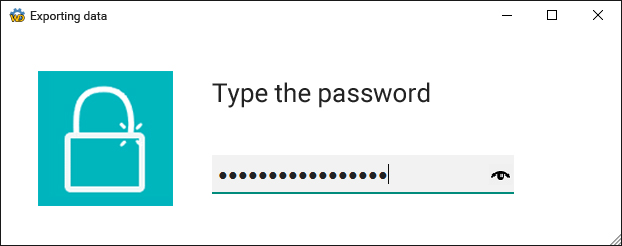 Typing a password to secure the export of data