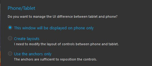 Tablet/Phone differences