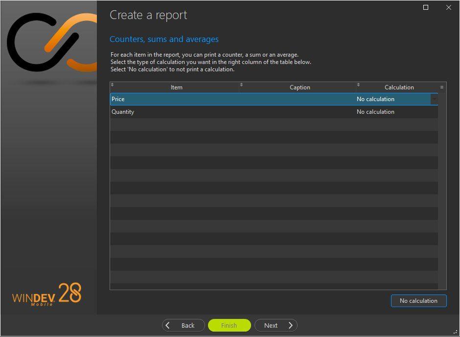 Report creation wizard - Break