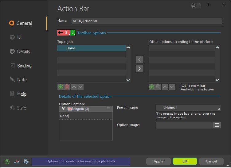 Options of the Action Bar control
