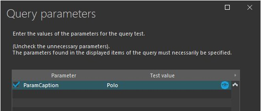 Entering the query parameters