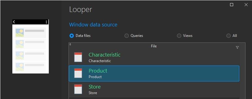 Select data file