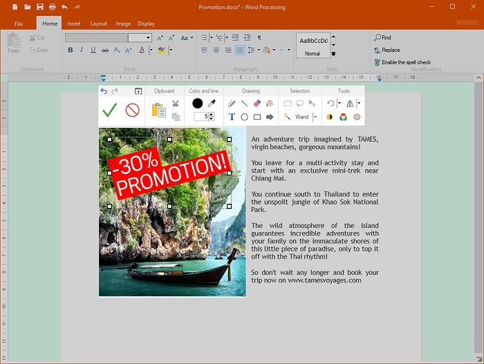 Image editing directly in the document