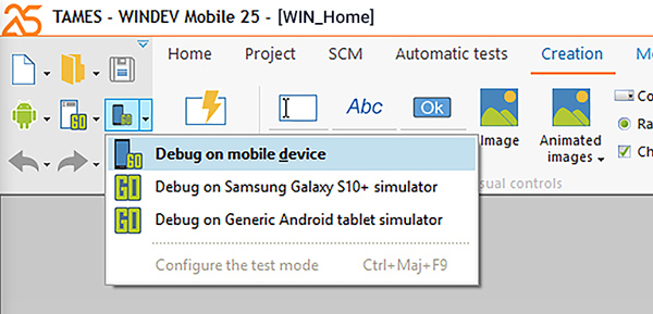 Choose your debug mode: here, directly on the device